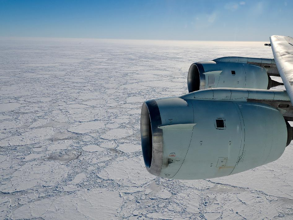 Sea ice in the Amundsen Sea, Antarctica, seen from NASA's DC-8 aircraft flying at 1,500 ft above ground.