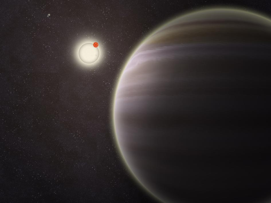 An artist's illustration of PH1, a planet discovered by volunteers from the Planet Hunters citizen science project. PH1, shown in the foreground, is the first reported case of a planet orbiting a double-star that, in turn, is orbited by a second distant pair of stars. The phenomenon is called a circ