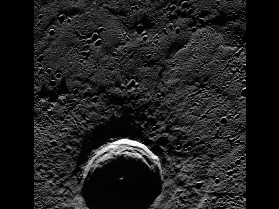Image from Orbit of Mercury: Eternal Darkness of Petronius Crater