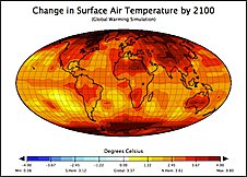 A graph of Earth's surface with colors indicating predicted surface temperature changes by 2100