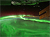 Dramatic image of aurora as viewed from the space station