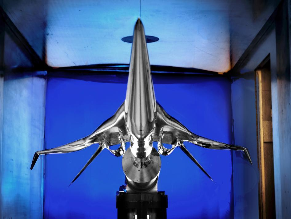 Earlier this fall, a subscale model of a potential future low-boom supersonic aircraft designed by The Boeing Company was installed for testing in the supersonic wind tunnel at NASA's Glenn Research Center in Cleveland. This model is a larger of two models used in the test.