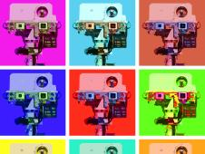 An artist's depiction of what Curiosity would look like if it had been painted by Andy Warhol. The image is a grid compiled of 9 squares, each square containing a picture of the rover's face