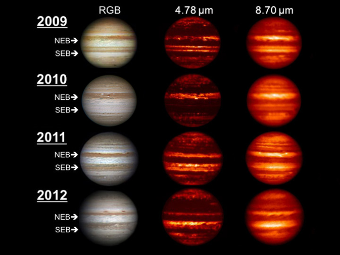 Images in the visible-light and infrared parts of the spectrum highlight the massive changes roiling the atmosphere of Jupiter