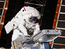 NASA astronaut Andrew Feustel, STS-134 mission specialist, installs the Materials on International Space Station Experiment – 8, or MISSE-8, hardware. MISSE-8 is a test bed for materials and computing elements attached to the outside of the International Space Station. (NASA)