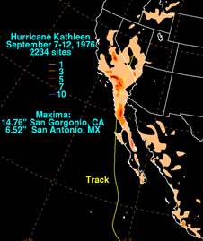 NOAA map of Hurricane Kathleen