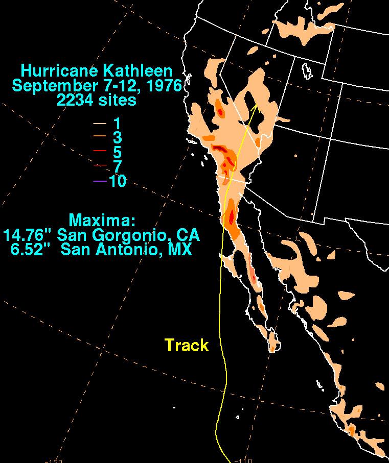 Map Of Arizona 1858.Nasa Notable Tropical Cyclones In Southern California History