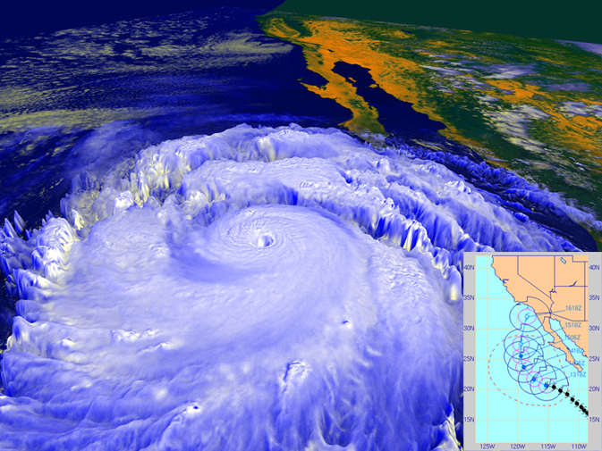 Hurricane Linda, shown in this NASA rendering