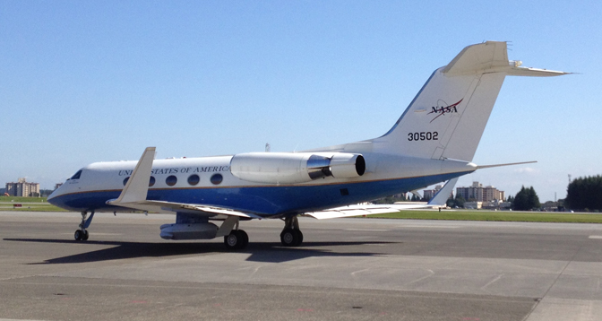 NASA's modified Airborne Science C-20A is seen on the parking ramp at Yokota Air Force Base near Tokyo, Japan.