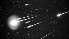 A black and white image of the Leonids meteor shower.