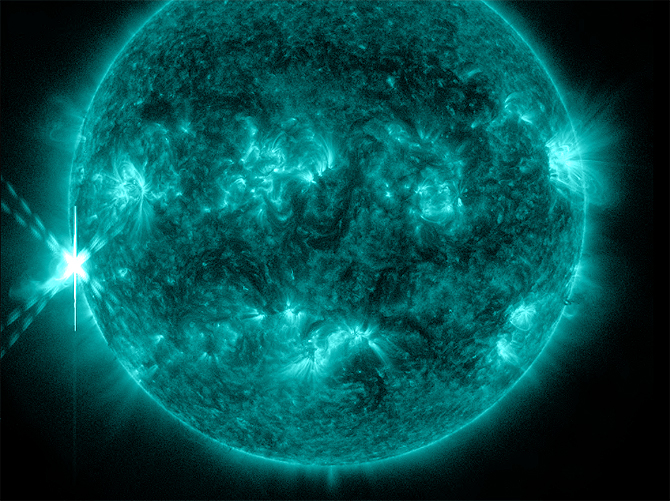 The sun emitted a significant solar flare, peaking at 2:14 p.m. EDT on Oct. 20, 2012.