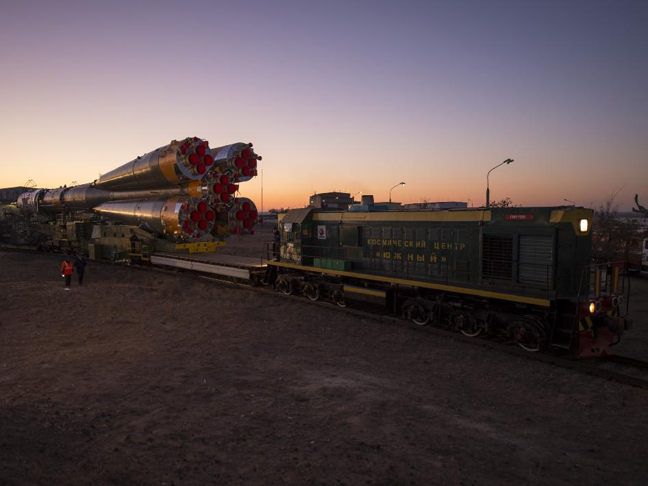 The Soyuz rocket is rolled out to the launch pad by train, on Sunday, Oct. 21, 2012, at the Baikonur Cosmodrome in Kazakhstan.