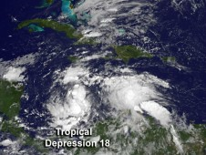 Visible GOES-13 image of TD18 on Oct. 22 at 1145 UTC just before it was classified as a depression.
