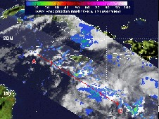 On Oct. 21 at 8:40pm EDT, TRMM noticed a hot towering thunderstorm over 9.3 miles high and an area of heavy rainfall.