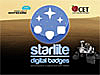 Logos for Starlite digital badges, Project Whitecard and CET over a Martian landscape and the Curiosity rover