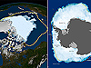 Comparison of (left) Arctic sea ice minimum to (right) Antarctic sea ice maximum for 2012.