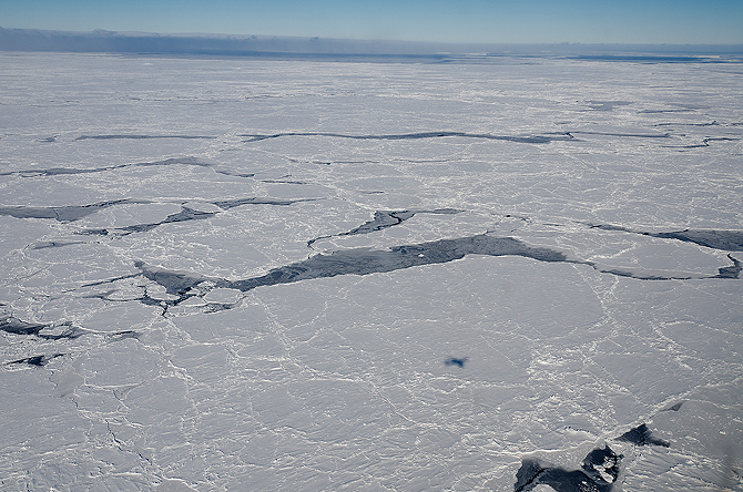 Sea ice in the Bellingshausen Sea, Antarctica, seen from NASA's DC-8 aircraft flying at 1,500 ft above ground.