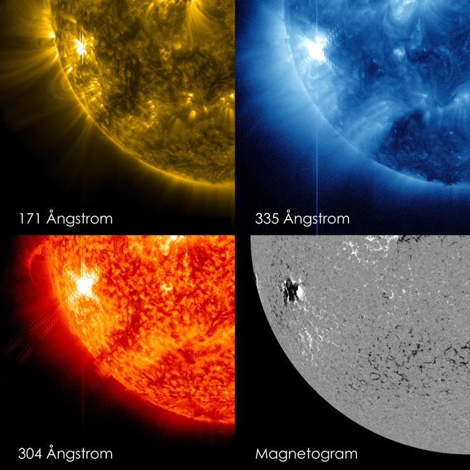 Four views of solar flare on Oct. 22, 2012 as captured by NASA's Solar Dynamics Observatory (SDO). Clockwise from top left: 171 Angstrom wavelength, 335 Angstroms wavelength, magnetogram showing magnetically active regions on the sun, 304 Angstrom wavelength.