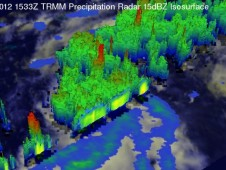 This TRMM 3-D perspective showed powerful storms near the center were reaching altitudes of over 14 km (~8.7 miles).