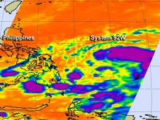The AIRS instrument aboard NASA's Aqua satellite captured infrared imagery of System 92W on Oct. 22 at 1:05 p.m. EDT