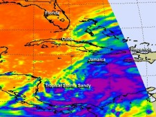 AIRS captured infrared imagery of Tropical Storm Sandy on Oct. 23 at 2:47 p.m. EDT