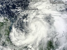 MODIS captured a visible image of Sandy when its center was a couple of hundred miles south of Jamaica.