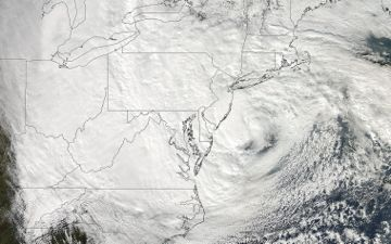 The Moderate Resolution Imaging Spectroradiometer on NASA's Aqua satellite acquired this image of Hurricane Sandy at 2:20 p.m. EDT on October 29. Credit: NASA