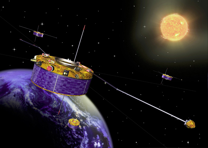 Artist's depiction of the four Cluster spacecraft in Earth's magnetic field