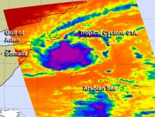 AIRS captured infrared imagery of Tropical Storm 01A on Oct. 24 at 5:35 a.m. EDT