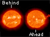The Sun on Oct. 14, 2012 as seen by STEREO B (left) and STEREO A (right).