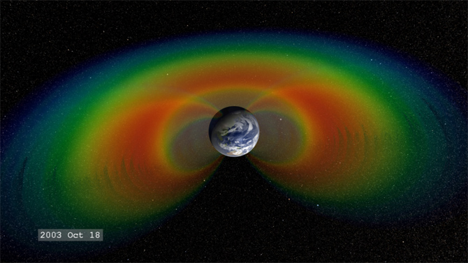 Cutaway graphic of Earth's radiation belts as they might have appeared following the Halloween Solar Storm of 2003.