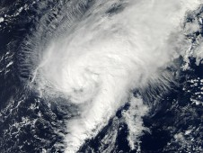 On Oct. 24, 2012 MODIS captured a visible image of Tony showing the strongest band of thunderstorms east of the center.