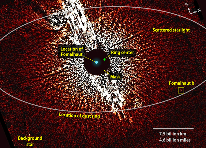 visible-light image from Hubble showing Fomalhaut and surrounding area