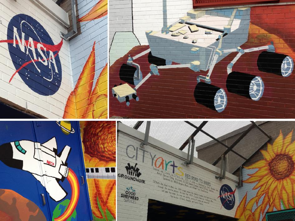 Scenes of the Curiosity rover, the space shuttle, and the famed NASA meatball logo adorn a mural at P.S. 328 in Brooklyn, New York.