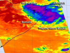 AIRS captured infrared imagery of Tropical Storm Murjan on Oct. 25 at 1017 UTC (6:17 a.m. EDT)