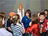 Barbara Morgan talks with students