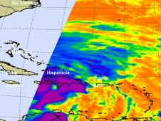 AIRS captured infrared imagery of Hurricane Sandy's eastern half on Oct. 25 at 0559 UTC (1:59 a.m. EDT)