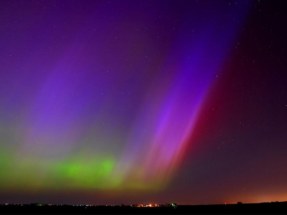 Northern lights (aurora) over Kearney, Nebraska.
