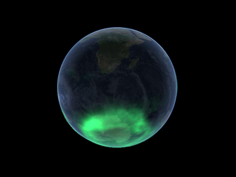A view of the aurora australis as taken by the IMAGE satellite on Jan. 7, 2005.