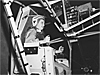 Jerrie Cobb, female pilot, tests rig used to train astronauts