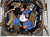 Four female astronauts of the STS-131 and Expedition 23 crews pose in the space station cupola