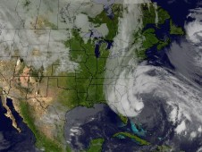 This image was created combining NOAA's GOES-13 and GOES-15 satellite imagery on Oct. 27
