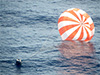 SpaceX's Dragon capsule splashed down in the Pacific Ocean at 3:22 p.m. EDT Sunday ending the first cargo delivery flight contracted by NASA to resupply the ISS.