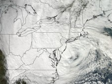 MODIS captured a visible image Sandy's massive circulation on Oct. 29 at 18:20 UTC (2:20 p.m. EDT).