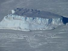 An iceberg trapped in sea ice in the Amundsen Sea