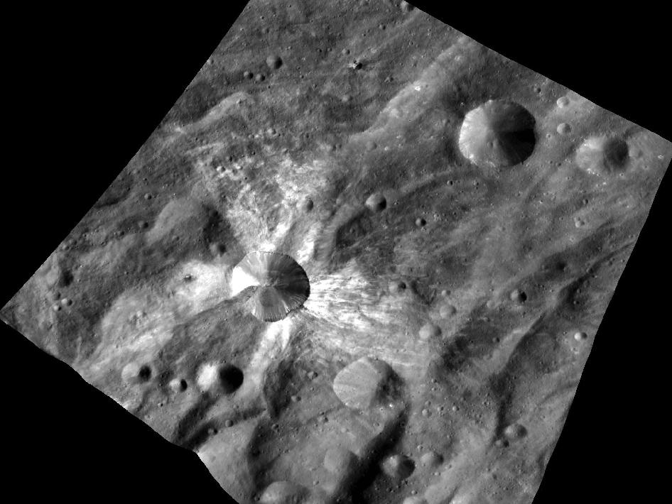 Crater Canuleia on the giant asteroid Vesta