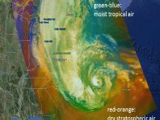 MODIS RGB composite image from Oct. 29, 2012 showing Hurricane Sandy off the East Coast of the United States