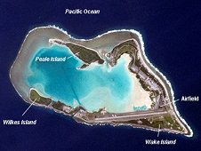 This Crew Earth Observation image shows Wake Island, located in the central Pacific Ocean approximately 4000 kilometers to the west-southwest of Hawaii and 2400 kilometers to the northwest of Guam. (NASA)