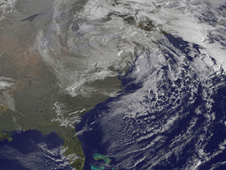 visible image of hurricane Sandy dissipating over the Northeast US