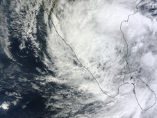 MODIS captured this visible image of Tropical Cyclone Nilam over southern India on Nov. 1 at 05:50 UTC